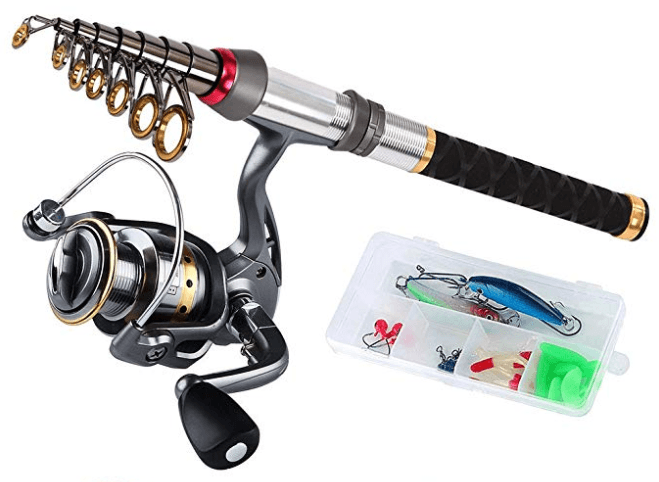 Fishing kit with cane and accessories